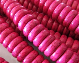 Agate Beads 10 x 4mm Fuchsia Pink Shiny Smooth Agate Saucers - 20 Pieces