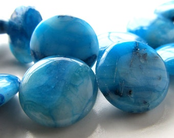 Agate Beads 20mm Natural Striated Blue Crazy Lace Agate Coins - 6 Pieces