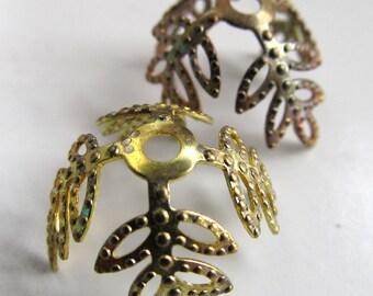 Brass Findings 12mm Vintaj Natural Brass Ornate Leaf Bead Caps - 4 pieces