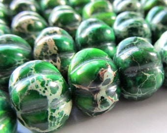 Jasper Beads 14 x 10mm Kelly Green Carved Imperial Pumpkin Rondelles - 4 Pieces