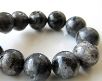 Larvikite Beads 10mm Flashy Black Labradorite Smooth Rounds - 8 inch Strand