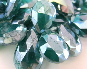 Onyx Beads 16 x 12mm Emerald Green Mystic Coated Faceted Teardrops - 20 Pieces