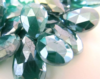 Onyx Beads 25 x 16mm Emerald Green Mystic Coated Faceted Teardrops - 18 Pieces
