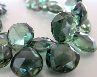 Quartz Beads 11mm Kelly Green Faceted Crystal Quartz Heart Teardrops - 4 inch Strand