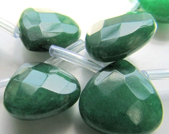 Jade Beads 13mm Kelly Green Faceted Candy Jade Heart Teardrops - 6 pieces