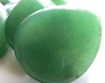 Aventurine Beads 40 x 30mm Asparagus Green Smooth Teardrop Pendants - 2 Pieces