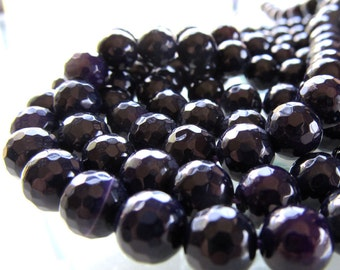Agate Beads 8mm Sparkling Faceted Deep Grape Purple Rounds - 8 in Strand