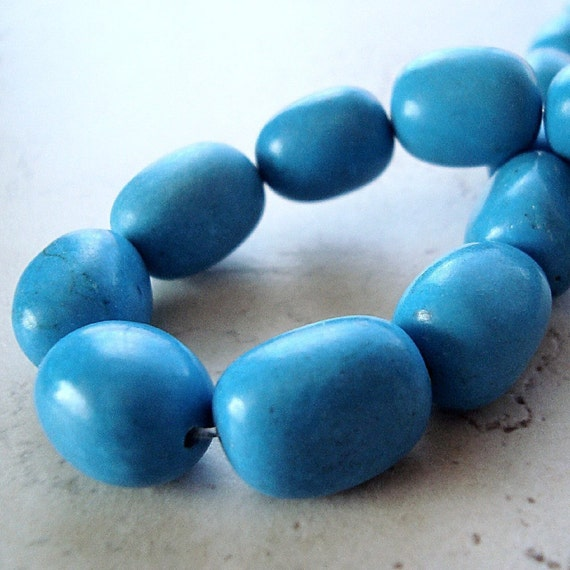 Turquoise Beads 14mm Stabilized Freeform Nuggets - 8 Pieces