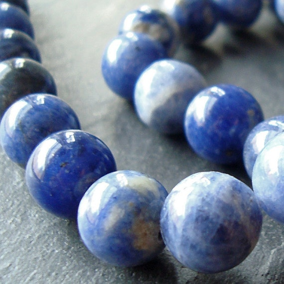 Sodalite Beads 12mm Swirl Royal Blue White Smooth Rounds - 6 Pieces