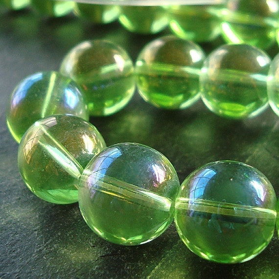 Iridescent Lime Green Raindrop Beaded Curtain: Glass Beads 12mm Lime Green Iridescent AB Smooth Round