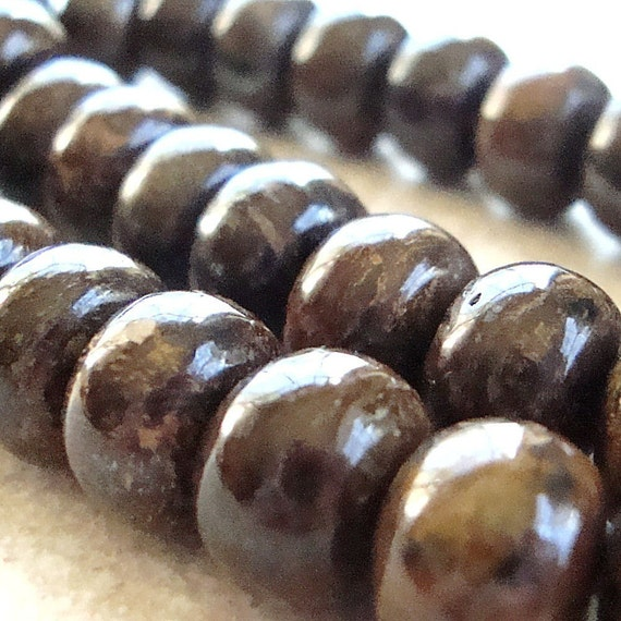 Bronzite Beads 10 x 7mm Lustrous Chocolate Brown Smooth Rondelles -  16 Pieces