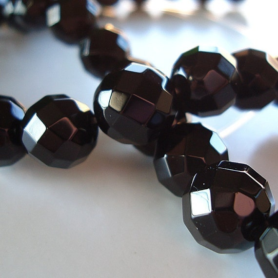 Onyx Beads 8mm Jet Black Faceted Onyx Round Beads - 12 Pieces