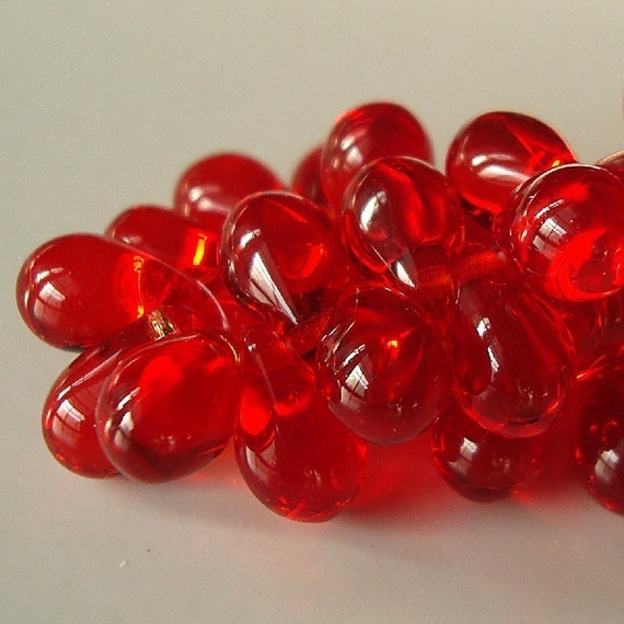 Czech Glass 9 x 6mm Holiday Red Smooth Teardrops - 50 Pieces