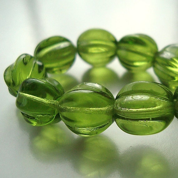 Czech Glass Beads 10mm Olive Green Round Melons - (Last 12 Pieces)
