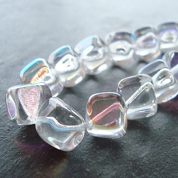 10mm Clear Aurora Borealis  Smooth Czech Glass Diagonal Cube Beads - 12 Pieces