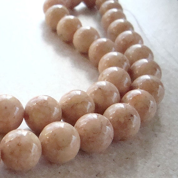 Fossil Beads 6mm Natural Desert Sand Brown Smooth Round Stones - 8 inch Strand