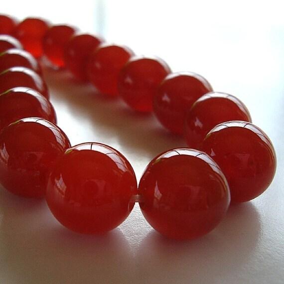 Carnelian Beads 12mm Natural Carrot Pumpkin Orange Rounds - 8 Pieces