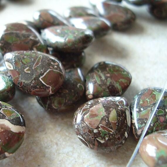 Jasper Beads 15 x 12mm Natural Green, Rust and Cream Camouflage Jasper Teardrops - 4 Pieces