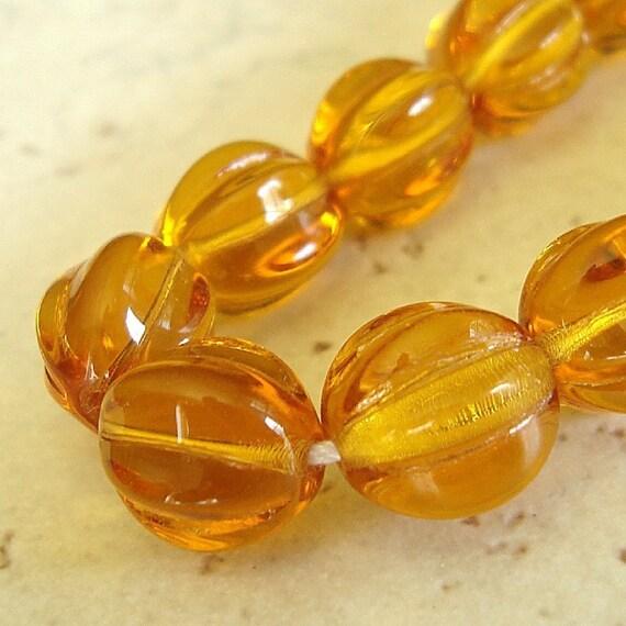 Czech Glass Beads 10mm Topaz Yellow Round Melons - 12 Pieces