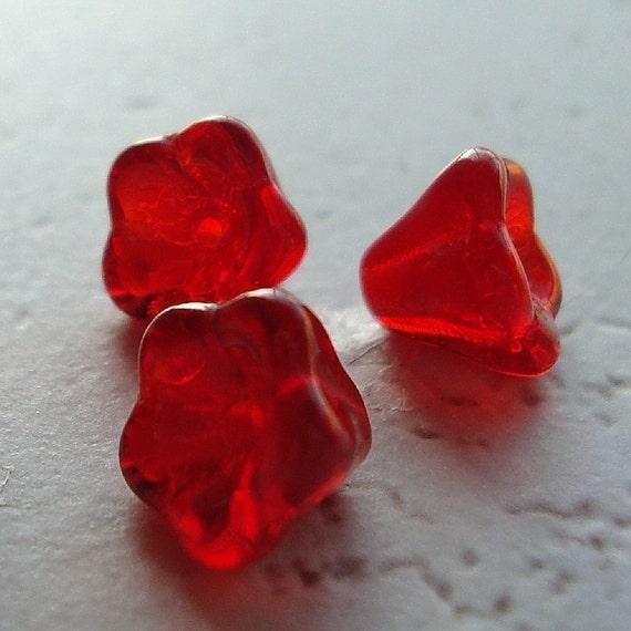 Czech Glass Beads 8 X 6 Crimson Red Bell Flowers - 12 Pieces