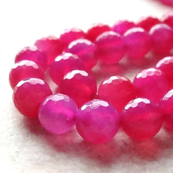 Onyx Beads 8mm Fuchsia Pink Faceted Shiny Round - 8 Pieces