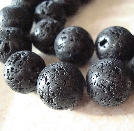 Lava Beads 12mm Jet Black Natural Smooth Round Stones - 6 Pieces