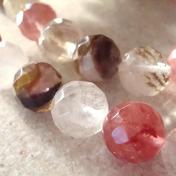 Quartz Beads 12mm Multi Colored Quartz Faceted Rounds - 8 Pieces
