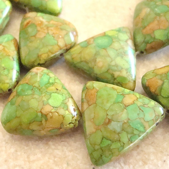 Fire Turquoise Beads 20mm Lime Green Shiny Smooth Triangles - 4  Pieces