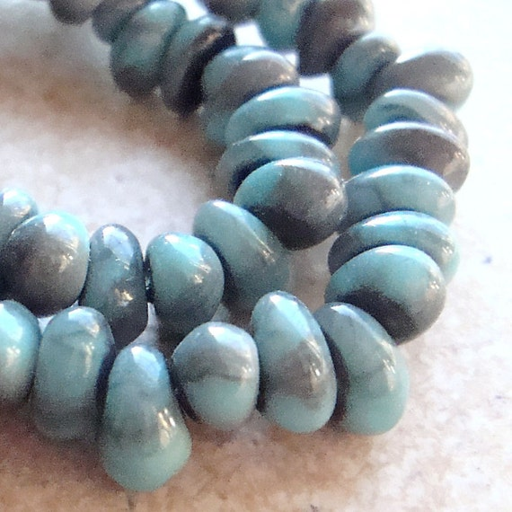 Czech Glass Beads 9 x 6mm Opaque Marbled Turquoise Smoke Bird Drops - (Last 40 Pieces)