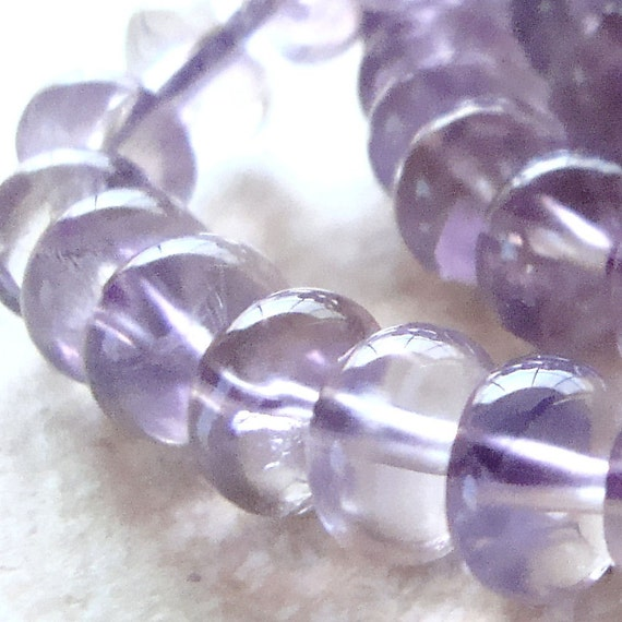 Amethyst Beads 8 x 5mm Delicate Lilac Smooth Rondelles - 10 Pieces