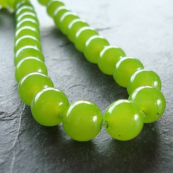 Czech Glass Beads 6mm Milky Finish Spring Olive Green Smooth Round - 24 Pieces
