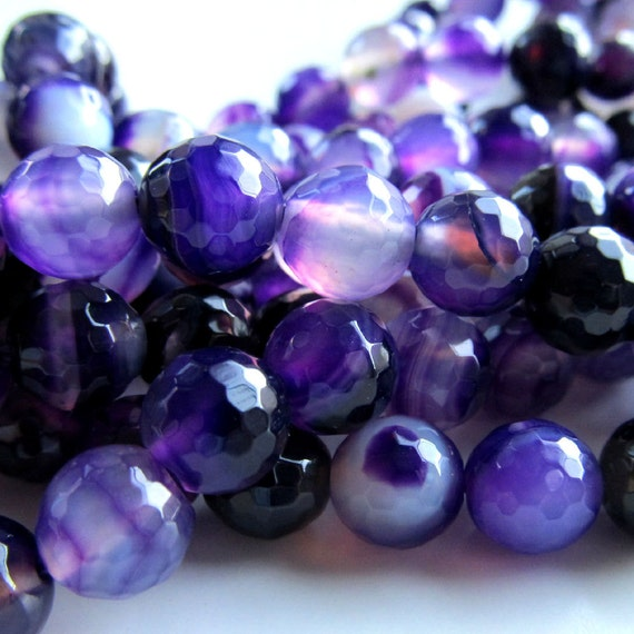 Agate Beads 8mm Sparkling Faceted Banded Agate Purple Rounds - 8 in Strand