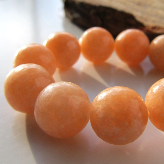 Calcite Beads 12mm Natural Salmon Peach Smooth Shiny Rounds - (4 Pieces)