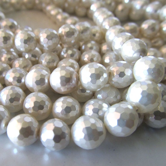 Shell Pearl Beads 8mm Lustrous Snow White Micro Faceted Rounds -  (8 inch Strand)