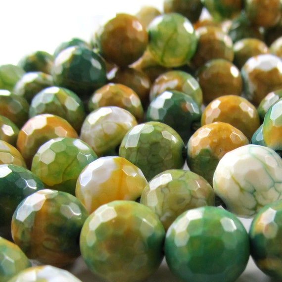 Agate Beads 10mm Fern Green, Creams & Golden Mustard Faceted Fire Crackle Agate Rounds - 8 inch Strand