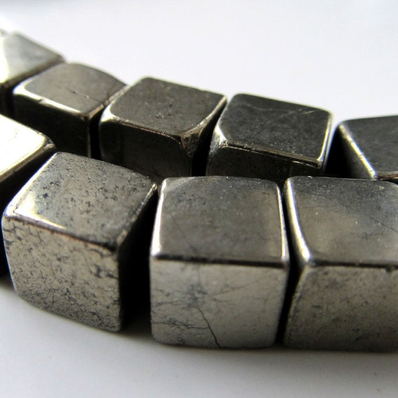 Pyrite Beads 8mm Shiny Golden Fools Gold Smooth Cubes - (Last 10 Pieces)