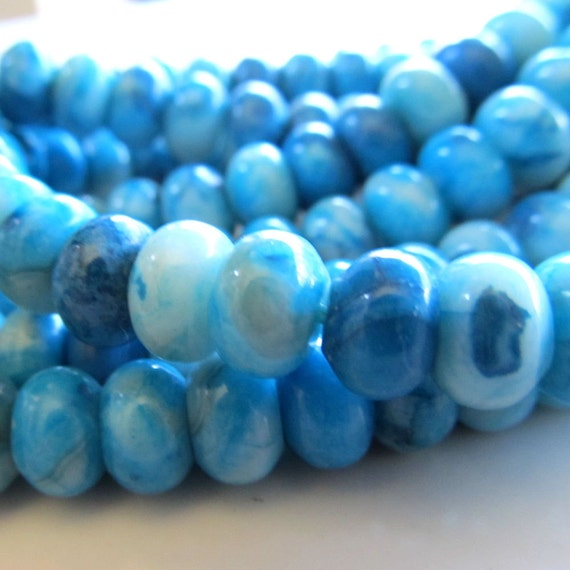 Agate Beads 8 X 5mm Smooth Aqua Marbled Crazy Lace Agate Rondelles - 20 Pieces