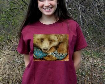 Bear T- SHIRT - Woman's Fine Art Transfer T-Shirt - XS S M L XL 2XL 3XL - Many Image and Color Choices