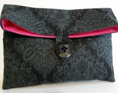 READY TO SHIP Black and Gray Damask Makeup Bag -  Size Medium
