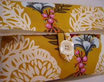 READY TO SHIP Mustard and Ivory Makeup Bag Wedding Clutch Bridesmaid Gift
