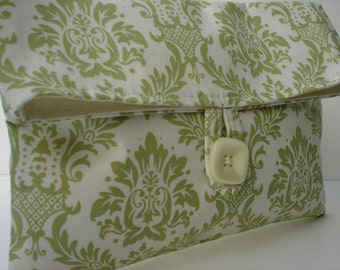 READY TO SHIP Green and Ivory Damask Clutch Makeup Bag Bridesmaid Gift