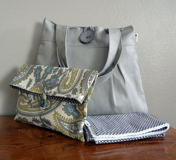 Gray Diaper Bag Set, Includes Changing Pad and Diaper Clutch, Nappy Bag Set, Unisex Diaper Bag, Modern Diaper Bag, Made to Order