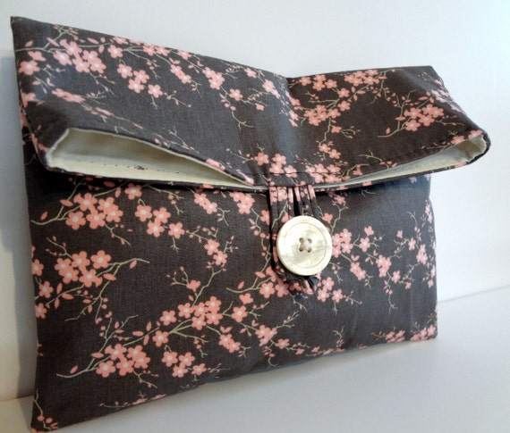 READY TO SHIP // Makeup Bag  in Spring Blossoms - Gray and Pink - Great For Travel - size medium