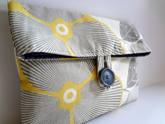 Gray and Yellow Bridesmaid Bag  - Amy Butler Optic Blossom  Makeup Bag Clutch Gift Idea - Bridesmaid Clutch  Size Medium