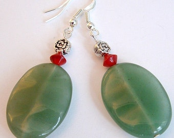 Large Wavy Green Aventurine Sterling Silver Earrings