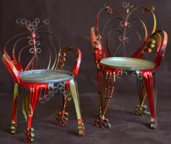 Vintage Folk Art Soda Beer Food Can Chairs 70's