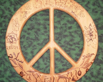 Words Of Peace in Many Languages-Wood Burned Peace Symbol, Peace Art, Peace Symbol, Wooden Wall Art