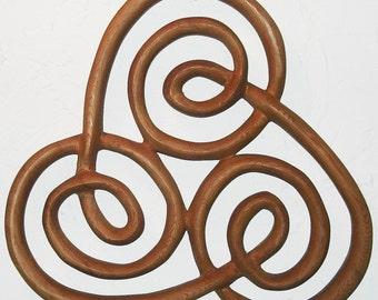Spiral of Newgrange-Irish-Triple Spiral Wood Carving Celtic Knot of Ireland