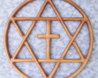 Encircled Messianic Star-Jewish-Christian Families-Star of David Christian Cross