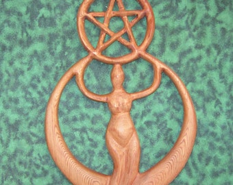 Crescent Moon Goddess with Pentacle-Creative and Protective Energies